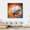Baseball On A Fire Canvas Wall Art-4 Square-Small-Gallery Wrap-Tiaracle