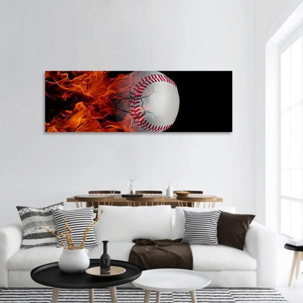 Basball On A Fire Panoramic Canvas Wall Art 3 Piece / Small Tiaracle