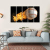 Baseball On Fire Multi Panel Canvas Wall Art 5 Horizontal / Small / Gallery Wrap Tiaracle