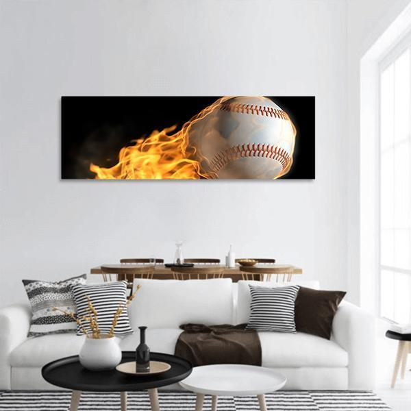 Baseball On Fire Panoramic Canvas Wall Art 3 Piece / Small Tiaracle