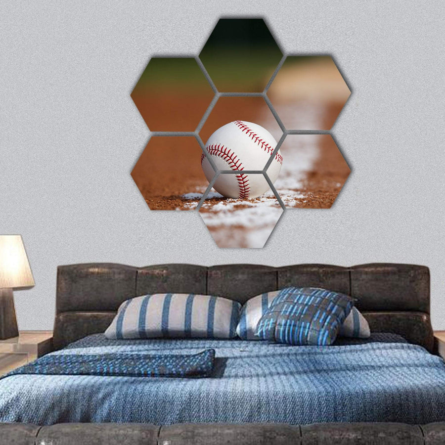 Baseball On The Infield Chalk Line Hexagonal Canvas Wall Art 1 Hexa / Small / Gallery Wrap Tiaracle