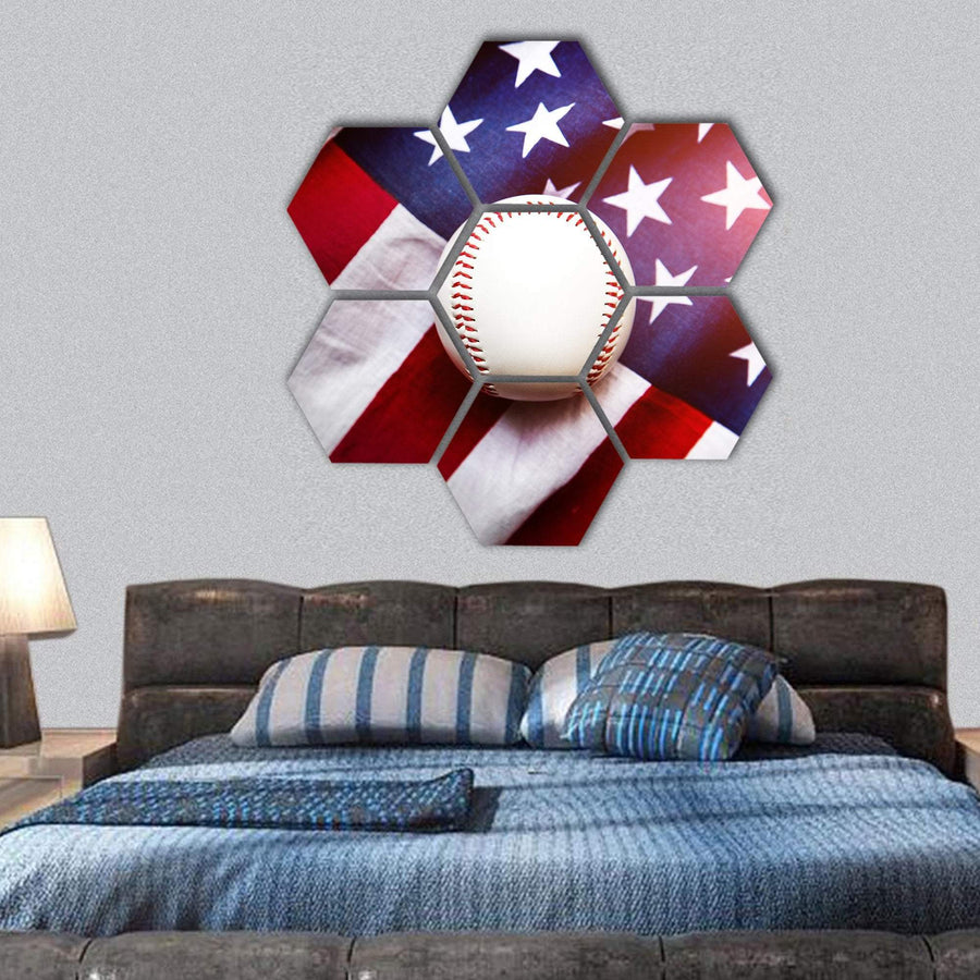 Baseball With American Flag Hexagonal Canvas Wall Art 1 Hexa / Small / Gallery Wrap Tiaracle