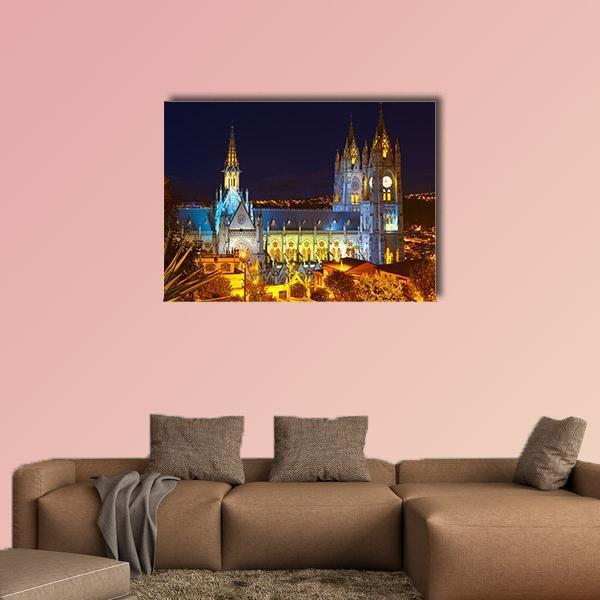 Basilica Of National Vote By Night Multi Panel Canvas Wall Art 3 Pieces / Small / Gallery Wrap Tiaracle