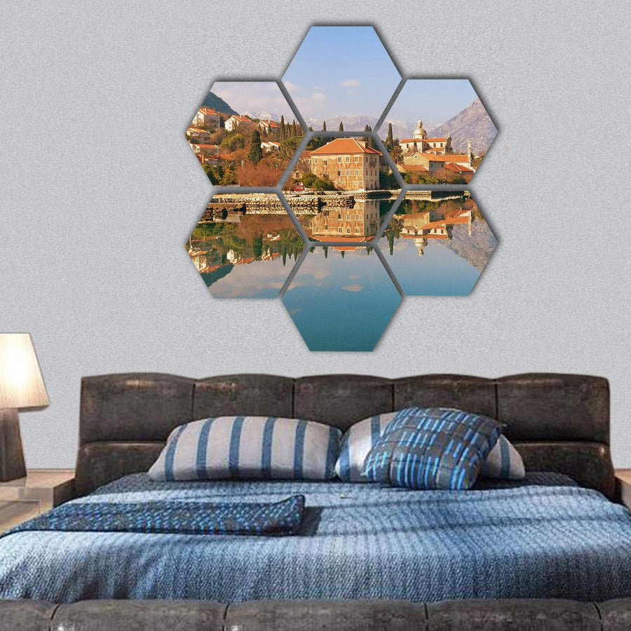 Bay Of Kotor Near Prcanj Town In Montenegro Hexagonal Canvas Wall Art 1 Hexa / Small / Gallery Wrap Tiaracle