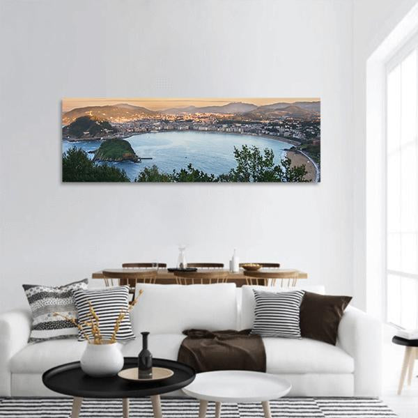 Bay Of San Sebastian In Spain Panoramic Canvas Wall Art 3 Piece / Small Tiaracle