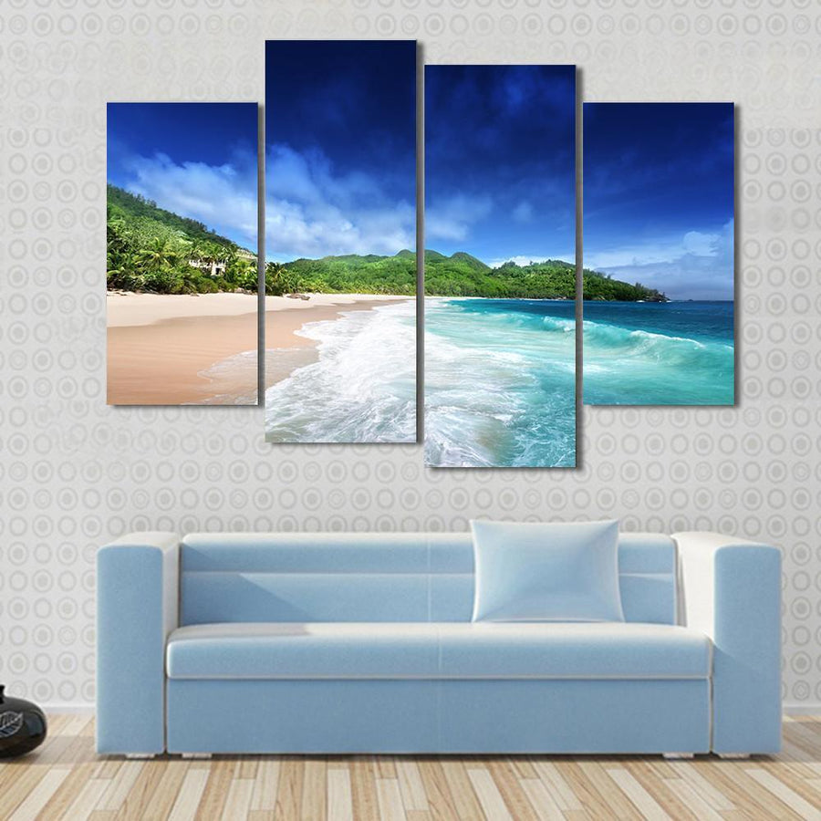 Beach At Mahe island, Seychelles Canvas Panel Painting Tiaracle