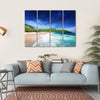 Beach At Mahe island, Seychelles Multi Panel Canvas Wall Art 4 Horizontal / Small / Gallery Wrap Tiaracle