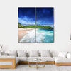 Beach At Mahe island, Seychelles Multi Panel Canvas Wall Art 4 Square / Small / Gallery Wrap Tiaracle