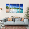 Beach At Mahe island, Seychelles Multi Panel Canvas Wall Art 5 Horizontal / Small / Gallery Wrap Tiaracle
