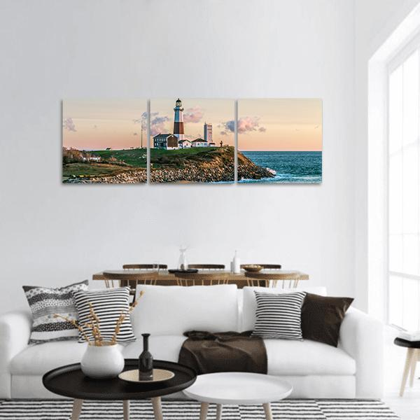 Beach At Montauk Point Light Panoramic Canvas Wall Art Tiaracle