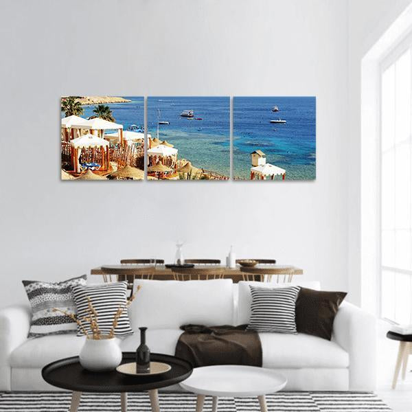 Beach At The Luxury Hotel In Egypt Panoramic Canvas Wall Art Tiaracle