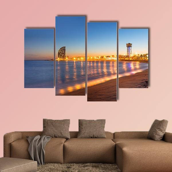 Beach in Barcelona During Sunset Multi Panel Canvas Wall Art 5 Pieces(A) / Medium / Canvas Tiaracle