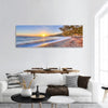 Beach Near Sea Coast In Greece Panoramic Canvas Wall Art 1 Piece / Small Tiaracle