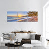 Beach Near Sea Coast In Greece Panoramic Canvas Wall Art 3 Piece / Small Tiaracle