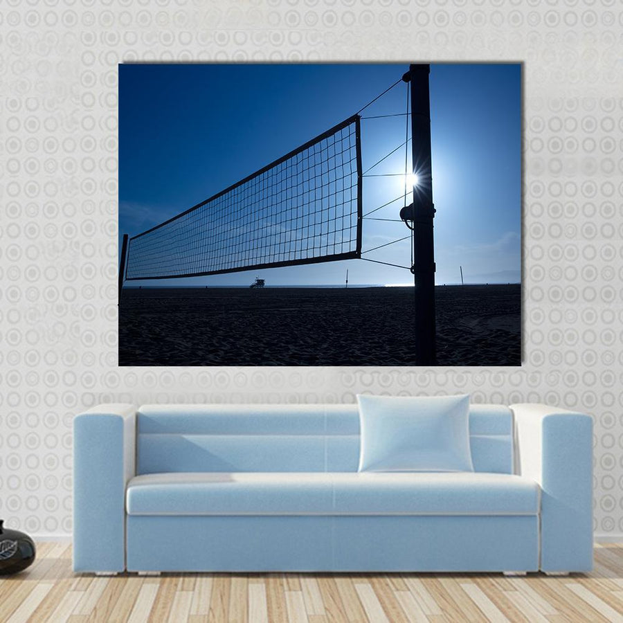 Beach Volleyball Volley Net In Santa Monica At Sunset California USA Multi Panel Canvas Wall Art-4 Horizontal-Small-Gallery Wrap-Tiaracle