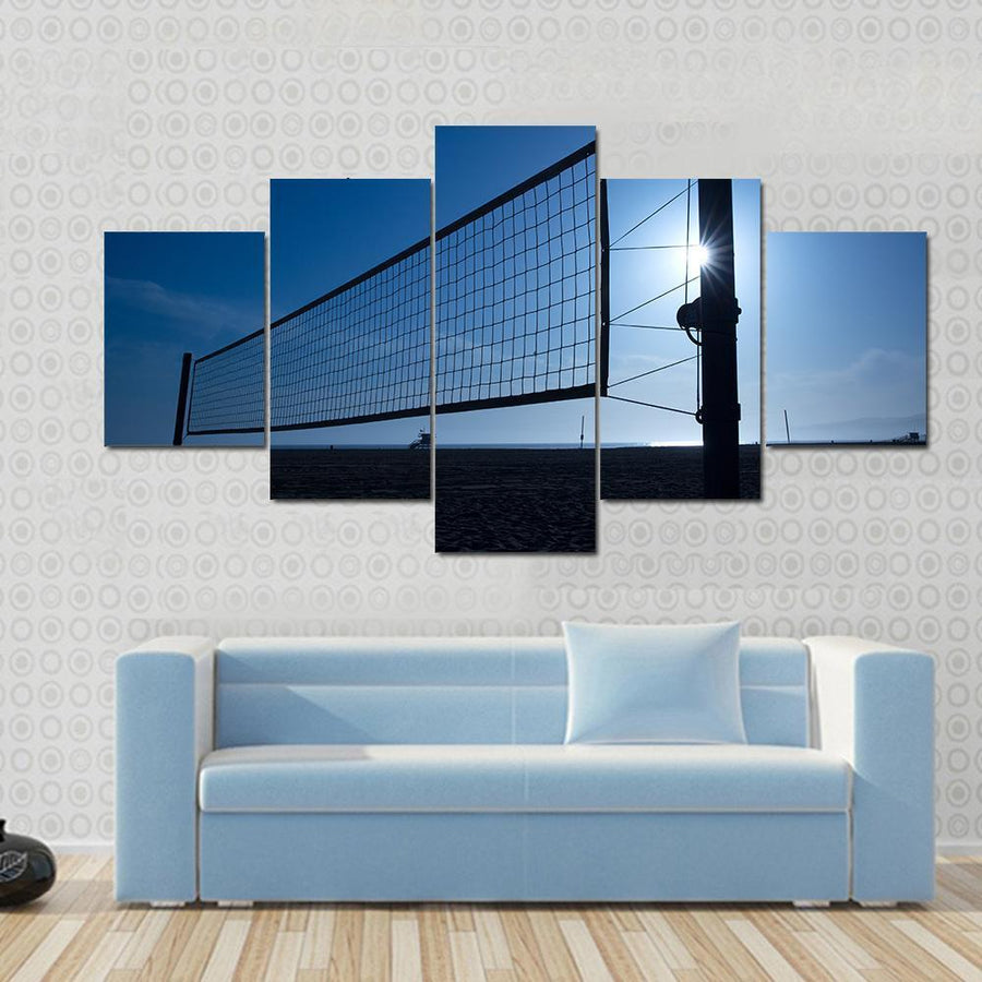 Beach Volleyball Volley Net In Santa Monica At Sunset California USA Canvas Panel Painting Tiaracle