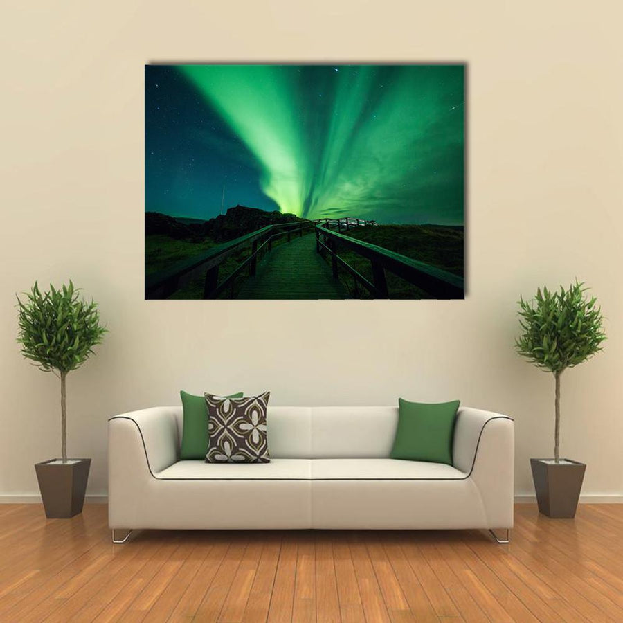 Beautiful Aurora Borealis In Iceland Multi Panel Canvas Wall Art 3 Pieces / Medium / Canvas Tiaracle