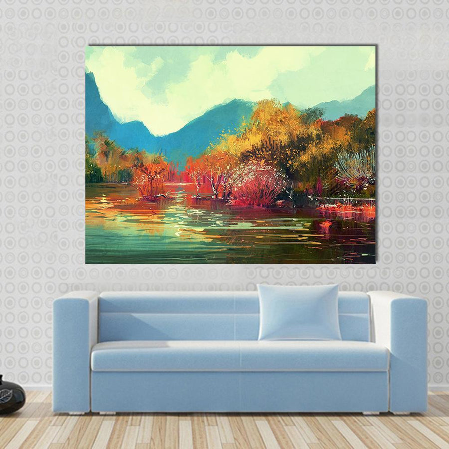 Beautiful Autumn Forest Illustration Canvas Panel Painting Tiaracle
