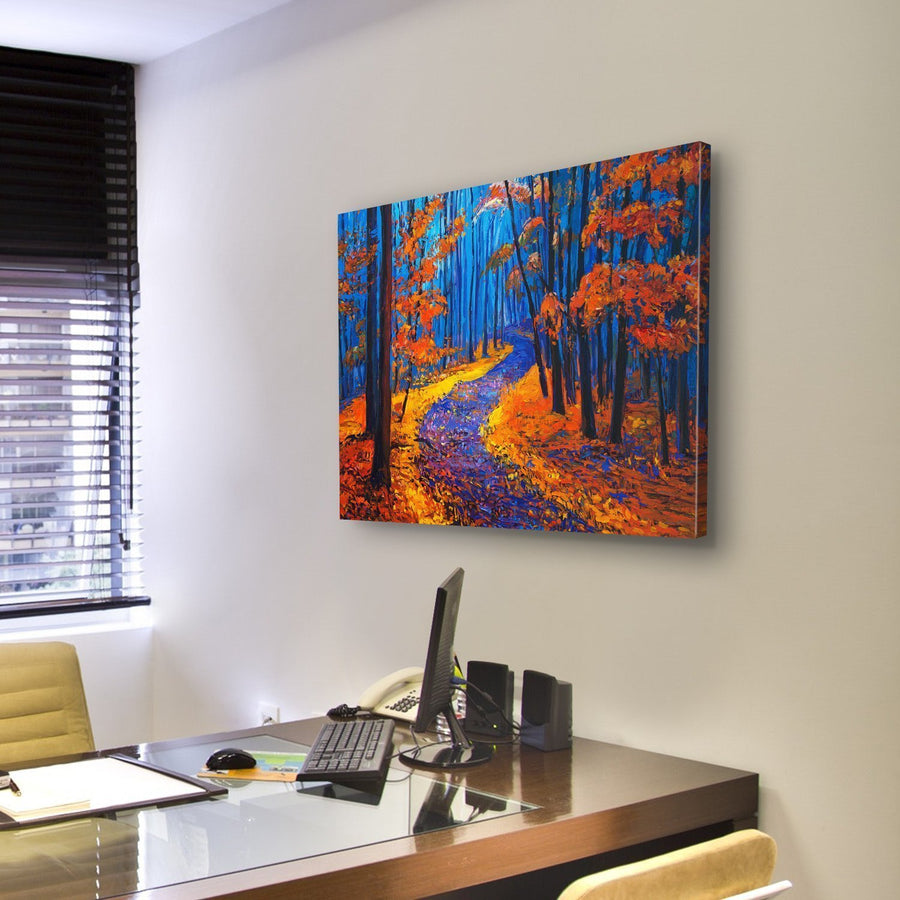 beautiful Autumn Forest Pathway Canvas Panel Painting Tiaracle