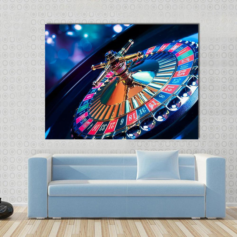 High Contrast Image Of Casino Roulette Canvas Panel Painting Tiaracle