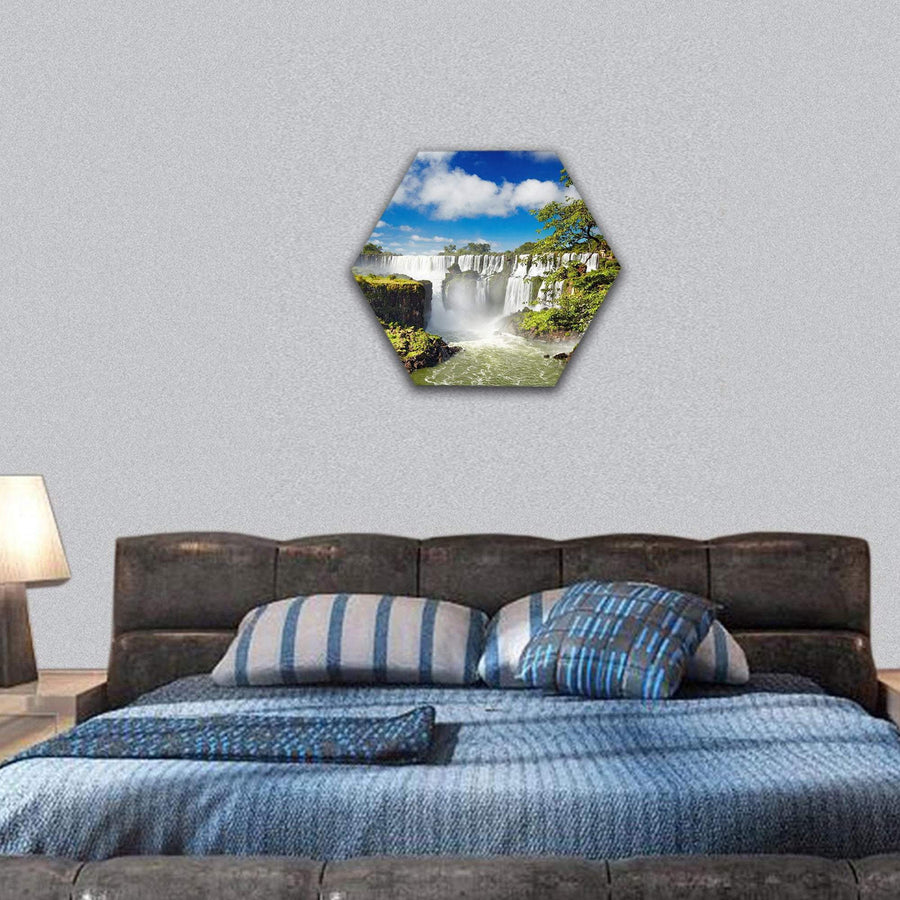 Beautiful Iguassu Falls Hexagonal Canvas Wall Art 7 Hexa / Small / Gallery Wrap Tiaracle