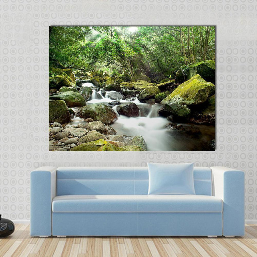 Beautiful Mountain River Multi Panel Canvas Wall Art 5 Horizontal / Small / Gallery Wrap Tiaracle
