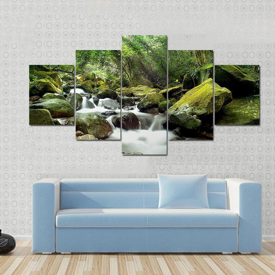 Beautiful Mountain River Canvas Panel Painting Tiaracle