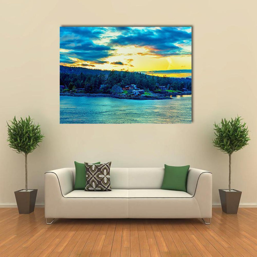 Beautiful Strait Of Georgia Landscape Canvas Wall Art-4 Horizontal-Small-Gallery Wrap-Tiaracle