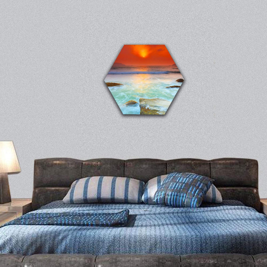 Beautiful Sunrise Over The sea Con Dao Hexagonal Canvas Wall Art 7 Hexa / Small / Gallery Wrap Tiaracle