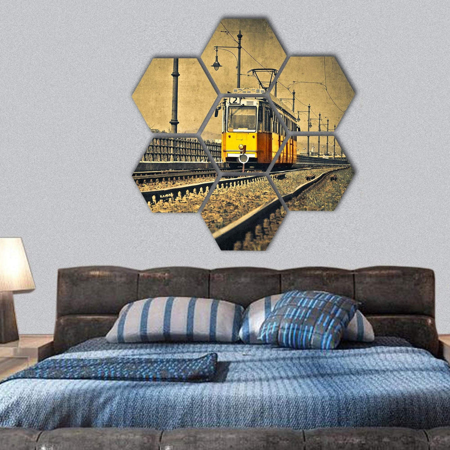 Beautiful Tram Coming In Hungary Hexagonal Canvas Wall Art 1 Hexa / Small / Gallery Wrap Tiaracle