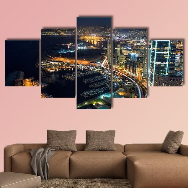 Night Shot Of Beirut In Lebanon Multi Panel Canvas Wall Art 5 Pieces(A) / Medium / Canvas Tiaracle