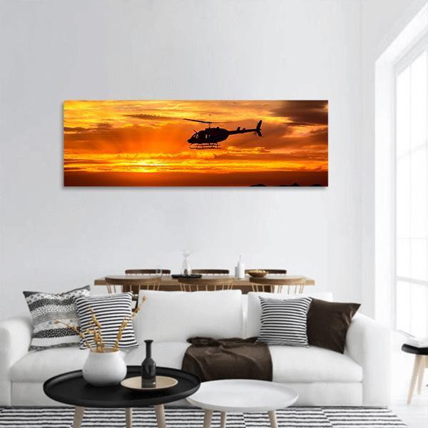 Bell 206 Helicopter At Sunset Panoramic Canvas Wall Art Tiaracle