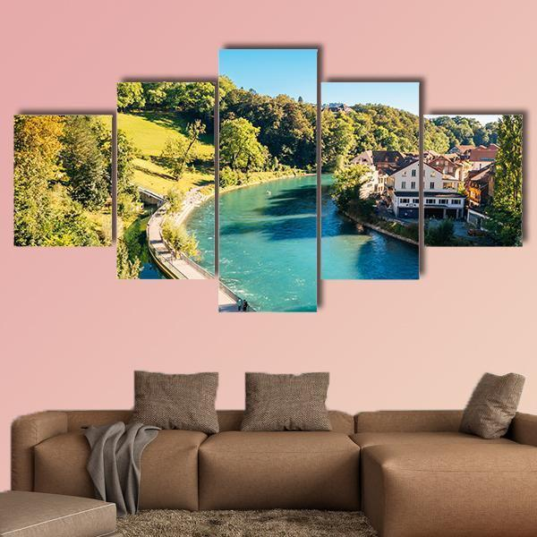 Bern Old Town With River In Switzerland Multi Panel Canvas Wall Art 4 Pieces / Medium / Canvas Tiaracle
