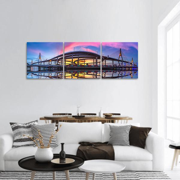Bhumibol Bridge At Twilight Panoramic Canvas Wall Art 1 Piece / Small Tiaracle