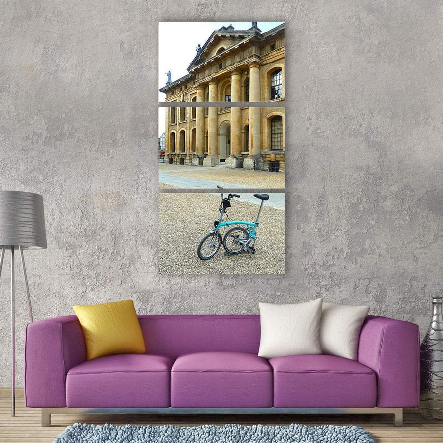 Bicycle In Front Of Old Building Vertical Canvas Wall Art 1 Vertical / Small / Gallery Wrap Tiaracle