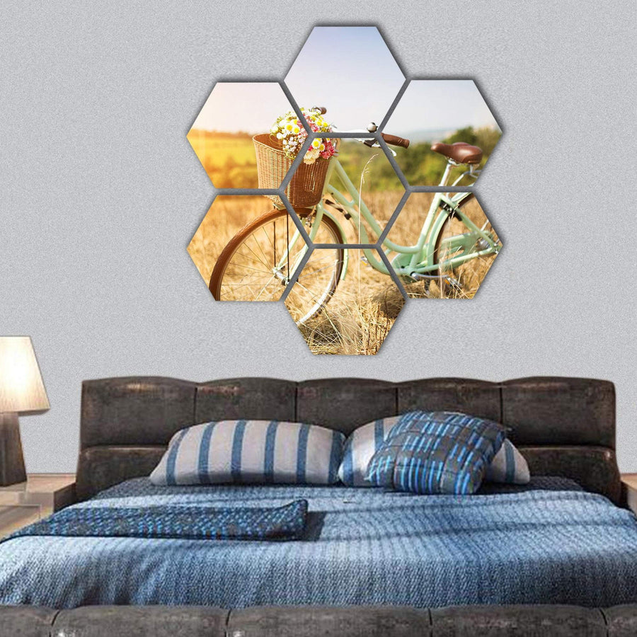 Bicycle With Basket Of Flowers Hexagonal Canvas Wall Art 1 Hexa / Small / Gallery Wrap Tiaracle