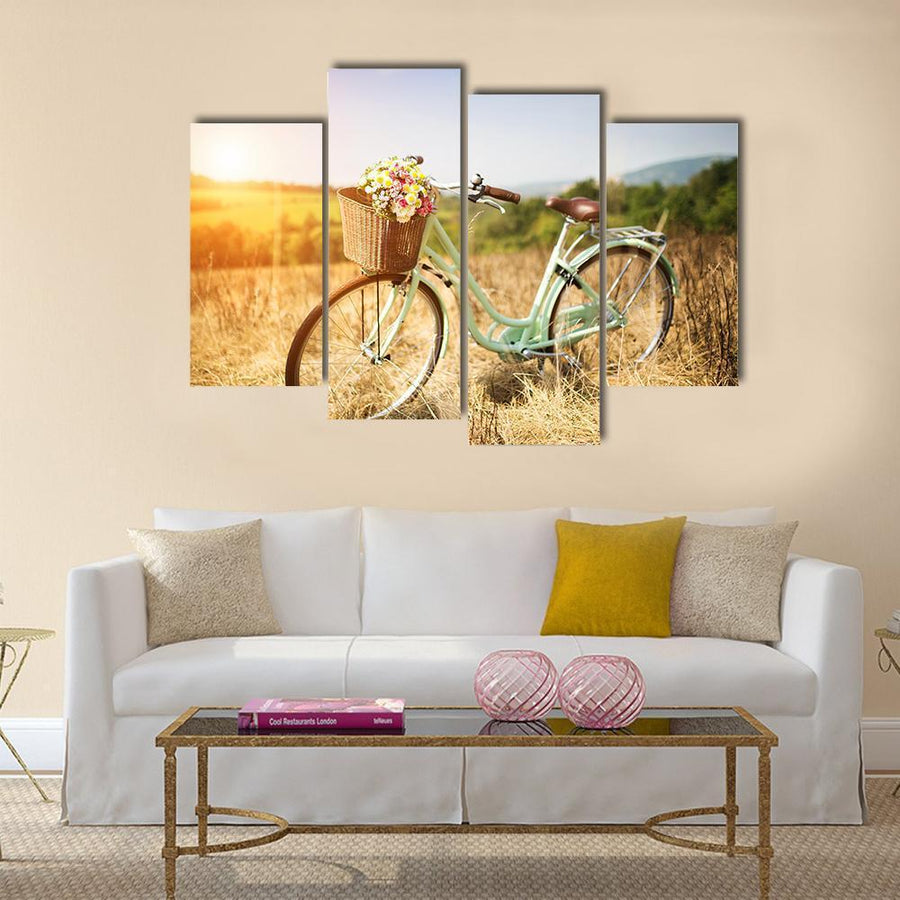 Bicycle With Basket Of Flowers Multi Panel Canvas Wall Art 1 Piece / Medium / Canvas Tiaracle