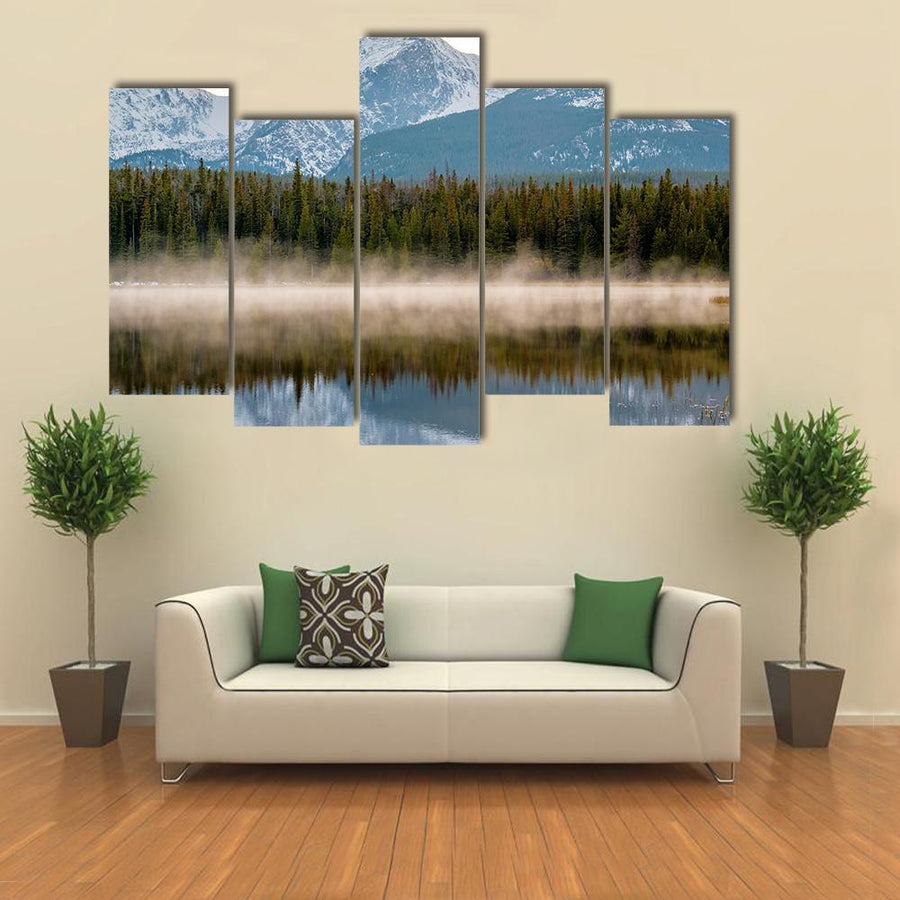 Bierstadt Lake With Reflection Of Mountains Multi Panel Canvas Wall Art 1 Piece / Medium / Canvas Tiaracle