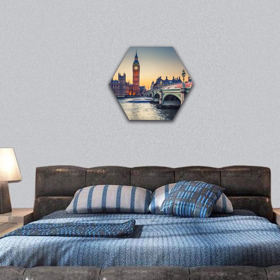 Big Ben And Houses Of Parliament Hexagonal Canvas Wall Art 7 Hexa / Small / Gallery Wrap Tiaracle