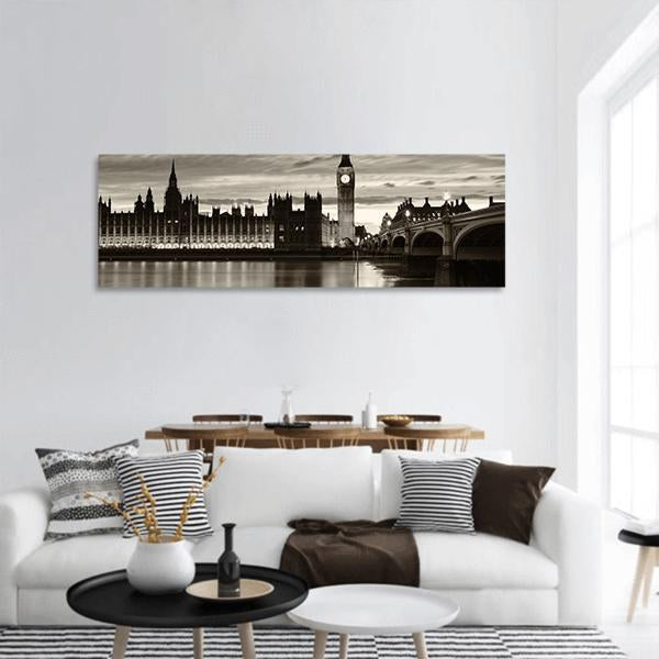 Big Ben And London At Night Panoramic Canvas Wall Art 3 Piece / Small Tiaracle