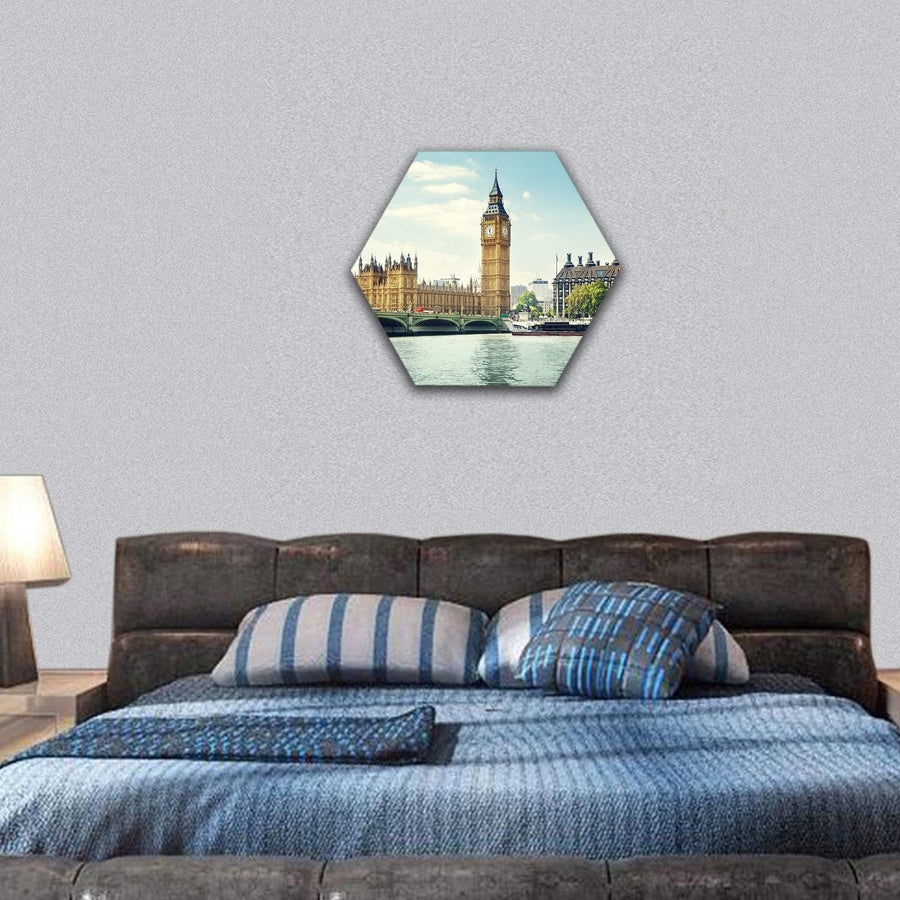 Big Ben In Sunny Day Hexagonal Canvas Wall Art 7 Hexa / Small / Gallery Wrap Tiaracle