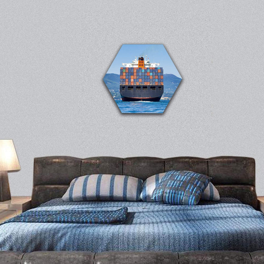 Big Cargo Container Ship Hexagonal Canvas Wall Art 7 Hexa / Small / Gallery Wrap Tiaracle