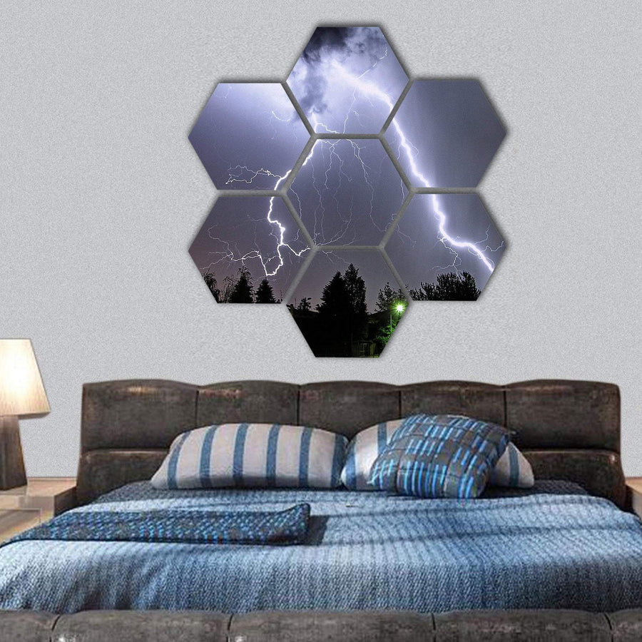 Big Lightning In A Summer Storm Hexagonal Canvas Wall Art 1 Hexa / Small / Gallery Wrap Tiaracle