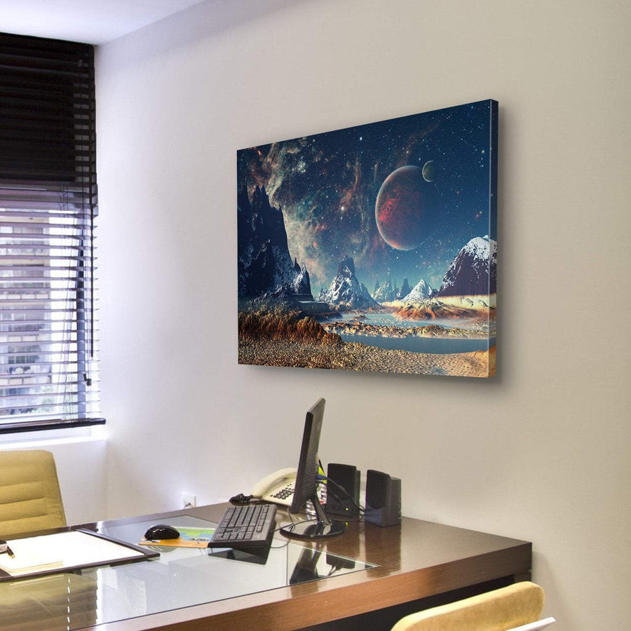 Big Planet With Mountains Canvas Panel Painting Tiaracle
