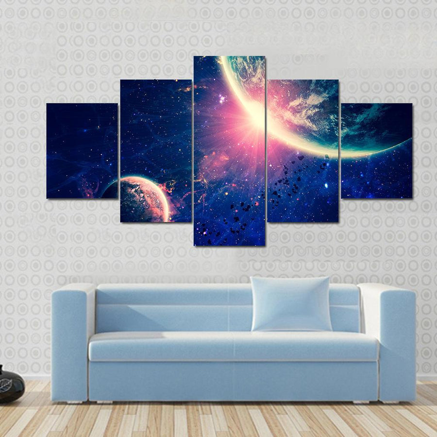 Big Rocky Planet Attracting Its Moon Canvas Panel Painting Tiaracle
