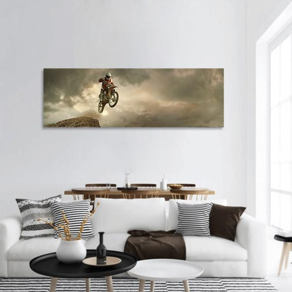 Biker Jumps In Air Panoramic Canvas Wall Art 3 Piece / Small Tiaracle