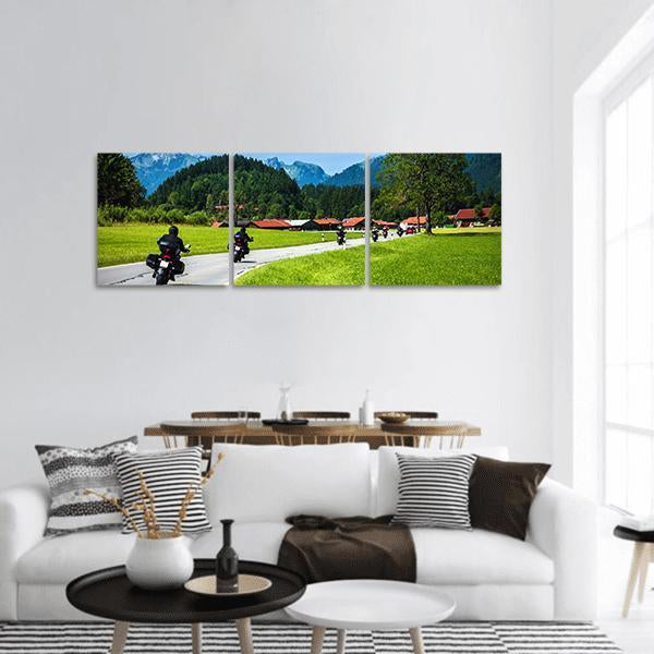 Bikers On Mountainous Road Panoramic Canvas Wall Art 1 Piece / Small Tiaracle