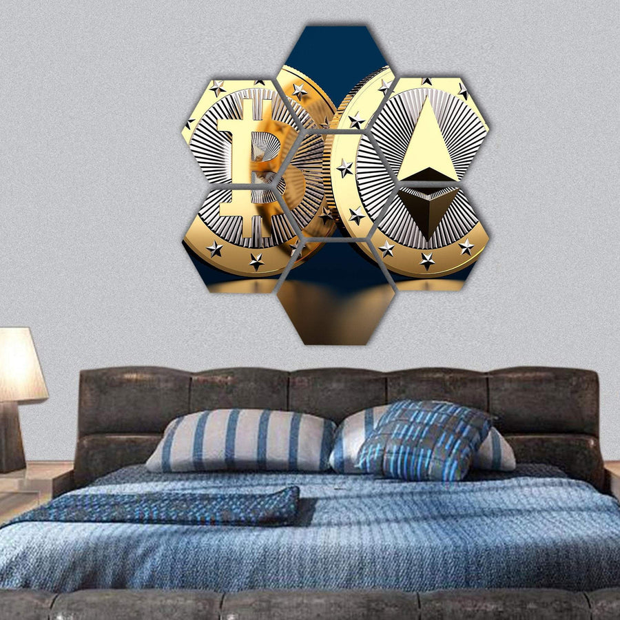Bitcoin And Ethereum Hexagonal Canvas Wall Art 1 Hexa / Small / Gallery Wrap Tiaracle