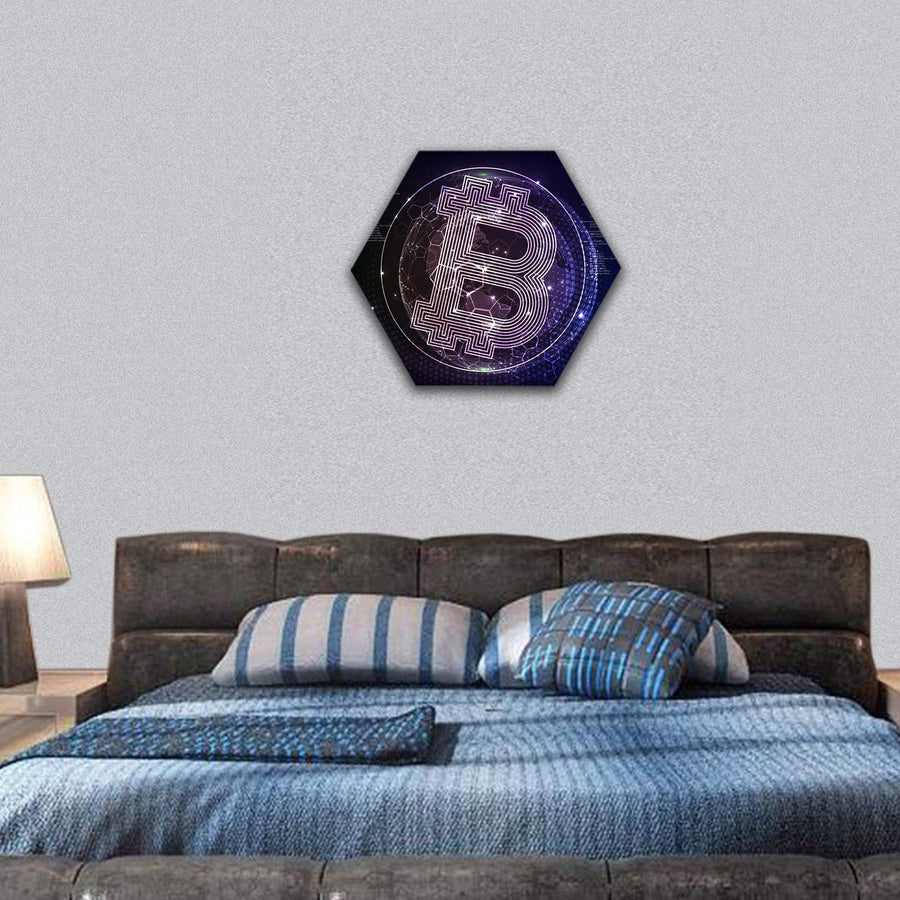Bitcoin Crypto Currency Hexagonal Canvas Wall Art 7 Hexa / Small / Gallery Wrap Tiaracle