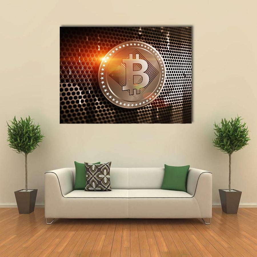 Bitcoin Sign On Perforated Sheet Multi Panel Canvas Wall Art 4 Square / Small / Gallery Wrap Tiaracle
